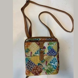Fossil leather floral purse